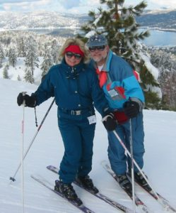 Deena Solomon with her husband Paul, skiing